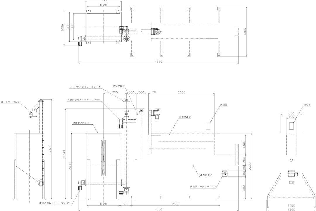 シリカ製造燃焼炉詳細見取り図